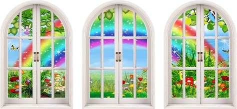 rainbow wall stickers uk 3d arched window childrens fairytale rainbow view wall stickers decal ebay