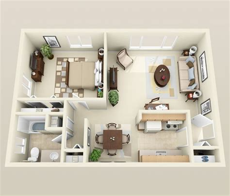1 Bedroom Apartment/House Plans - Futura Home Decorating 1 Bedroom Apartment Interior Design
