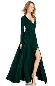 the gallery for gt dark green long dress sleeves