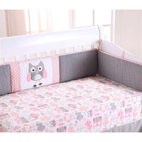 baby owl crib set levtex baby owl 4 crib bumper set pink