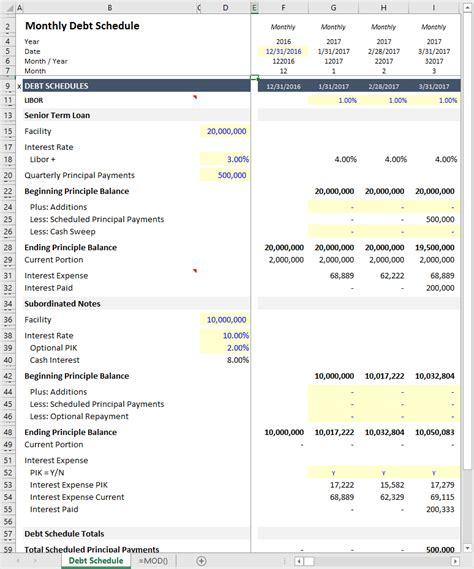 Monthly Debt Schedules Exle Asimplemodel Asimplemodel Com Debt Schedule Template