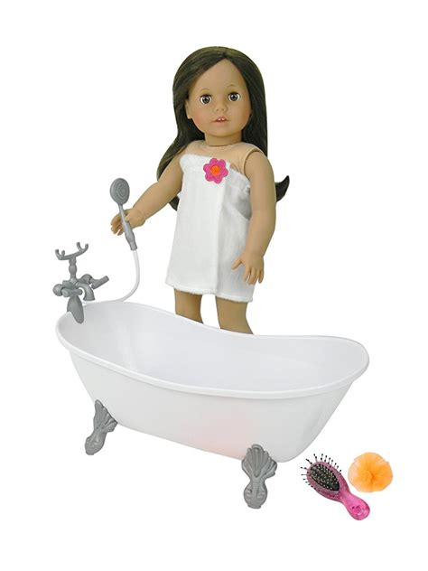 18 inch doll bathtub with shower fits american girl doll