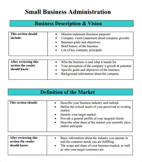 business plan template sba sle sba business plan template 9 free documents in