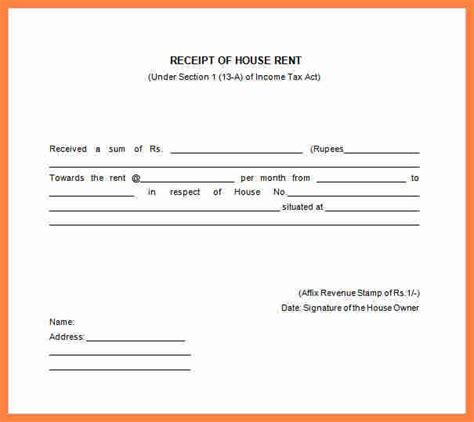 rent receipt template india 4 indian rent slip format salary slip