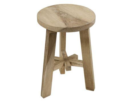 taburete de madera taburete bajo redondo de madera agrietada en color natural
