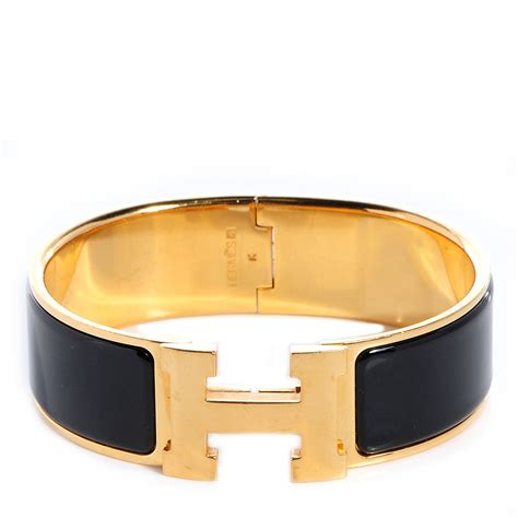 hermes enamel clic clac h bracelet wide gm black 76525