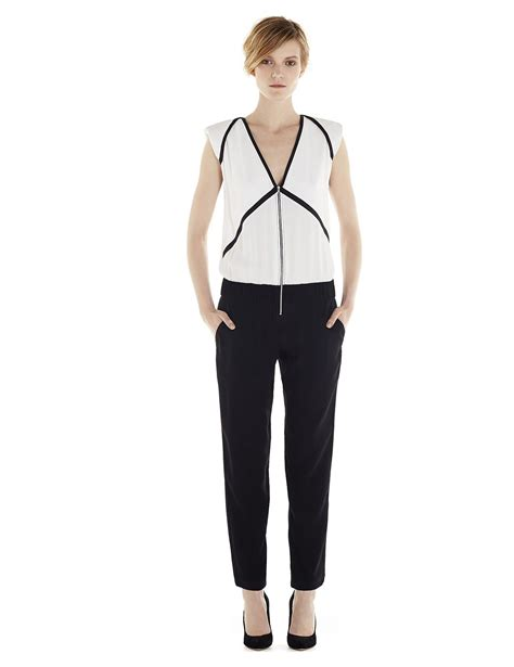 Two Tone Jumpsuit Minimal iro carlee jumpsuit two tone suit with a v shaped