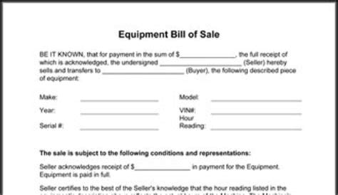 Free Printable Equipment Bill Of Sale Template Form Generic Equipment Bill Of Sale Template
