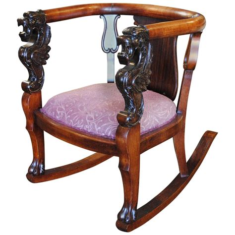 Antique Wood Rocking Chair Carved Griffin Lion Dragon For