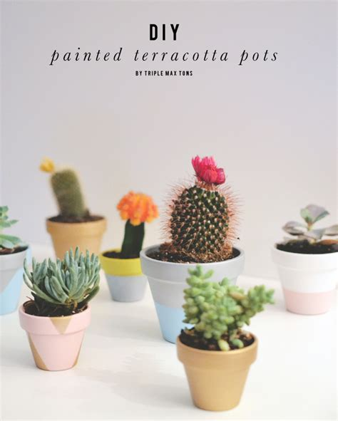 Craft Ideas For Home Decor Pinterest by Diy Painted Terracotta Pots With Succulents And Cacti