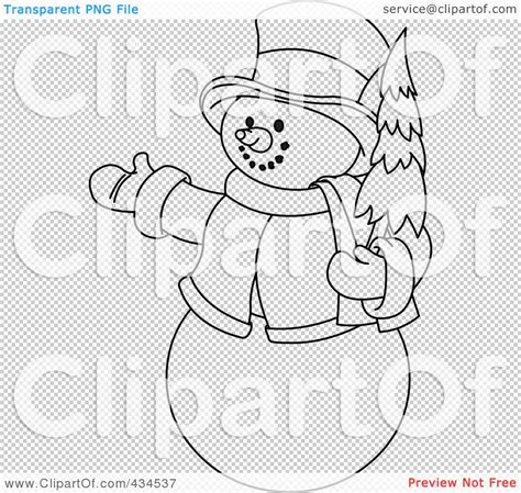 blue christmas service outline royalty free rf clipart illustration of an outline of a snowman holding a tree and