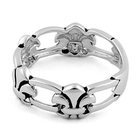 sterling silver eternity fleur de lis ring