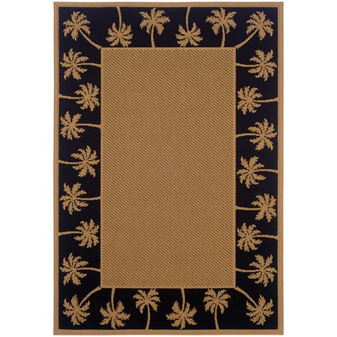 beige rug with black border weavers lanai 606k5 beige black palm border area rug rugmethod