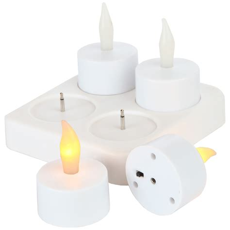 luminara rechargeable tea lights set of 4 with base home use rechargeable tea light candle set of 4 with