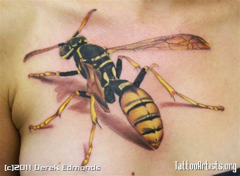 wasp on the chest by derek tattoo artists org