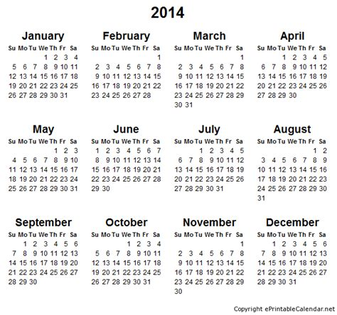 2014 annual calendar template 2014 calendar printable image search results
