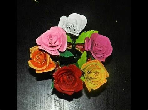 How To Make Waste Paper Flowers - recycled diy flowers made with tissue paper rolls
