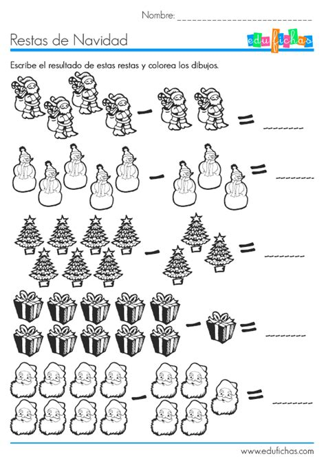 imagenes de matematicas sumas y restas restas de navidad http www edufichas com actividades