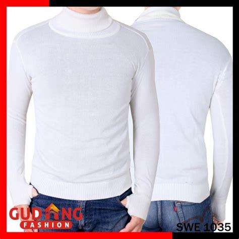 Kaos Polos Hitam Kerah Tinggi sweater rajut kerah tinggi polos panjang rajut tebal putih