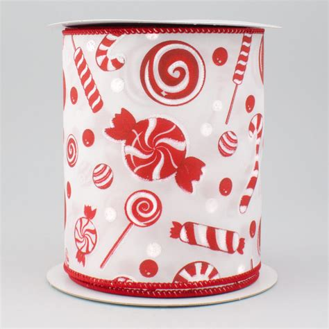 4 quot red white christmas candy ribbon 10 yards rg1865w7