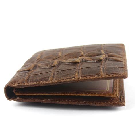 Handmade Leather Wallet Pattern - vintage leather crocodile pattern embossed trifold id