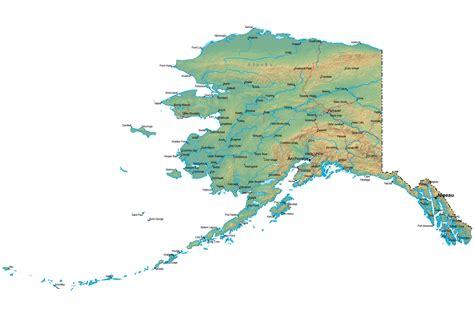 map alaska detailed alaska map ak terrain map