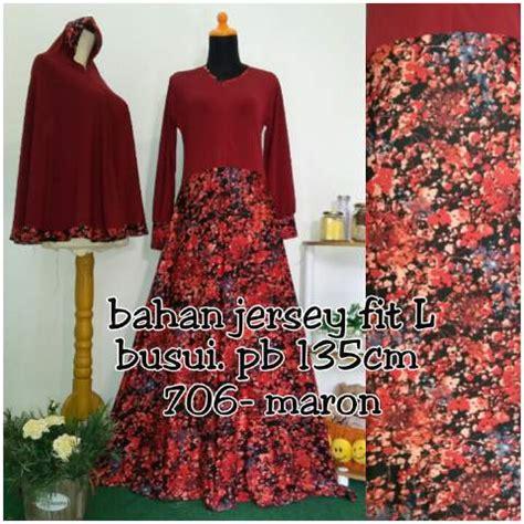 Gamis Denim Bunga gamis bergo motif bunga y706 baju muslim syar i modern