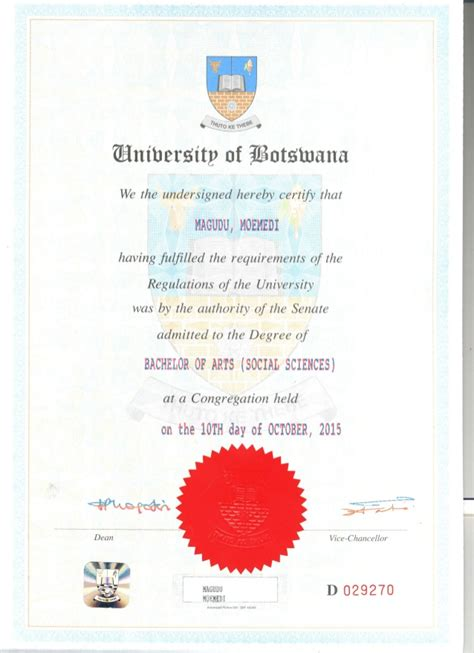 certificate for degree in bachelor of arts social science