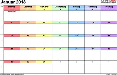 Kalender Januar 2018 Kalender Januar 2018 Als Word Vorlagen