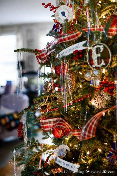 christmas tree decorating ideas with plaid ribbon my 2015 plaid tree celebrating everyday with carroll