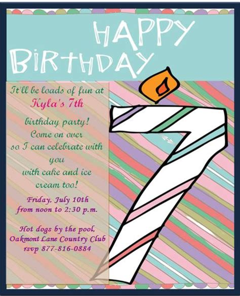 happy 7th birthday card template 10 most beautiful 7th birthday invitation templates with