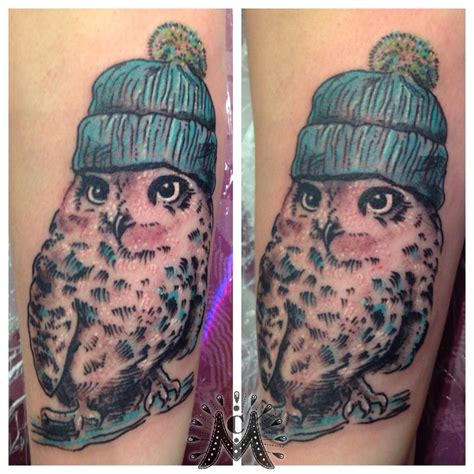 owl knitting tattoo guerramarz owl with hat hat owl knit cute