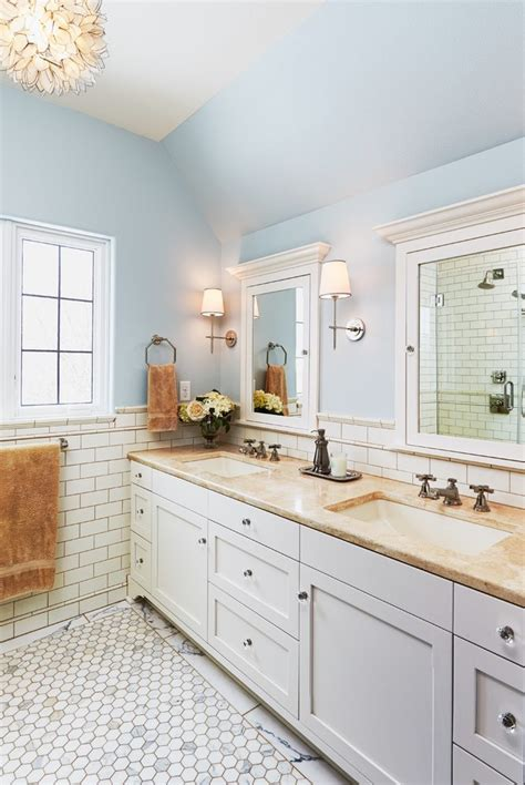 beige subway tile bathroom beige subway tile bathroom traditional with inset cabinets