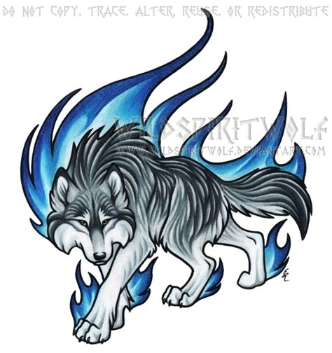 tattoo cartoon wolf prowling blue flame wolf commission by wildspiritwolf on