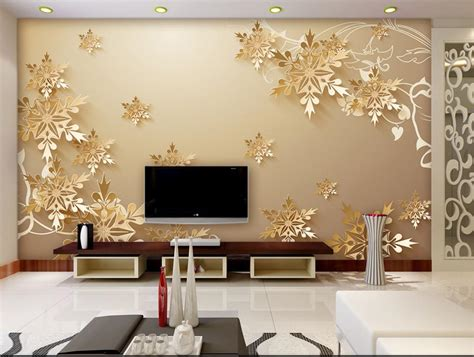 aliexpress buy golden snowflakes 3d room wallpaper