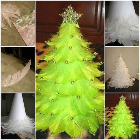 how to make christmas tree decorations at home diy feather christmas tree home design garden