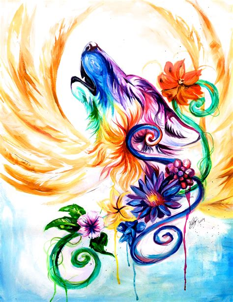 rainbow watercolor tattoo regal rainbow wolf commission r a i n b o w s
