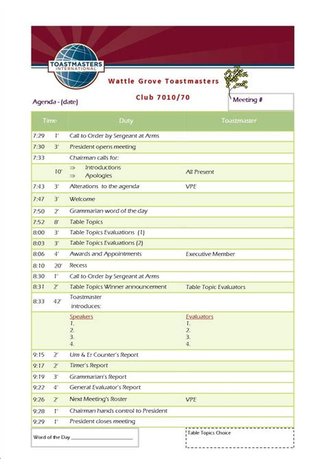 toastmaster biography form agenda sle top best event agenda templates event