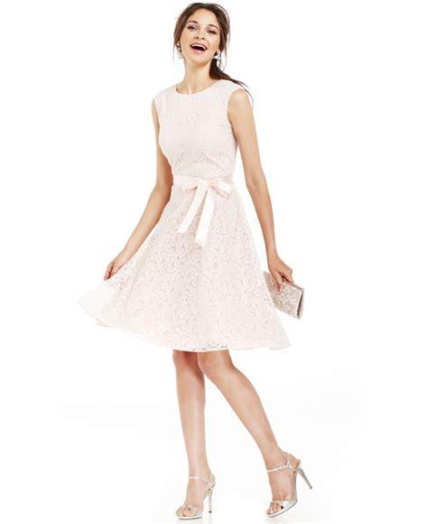 tahari tahari by asl glitter lace belted dress in