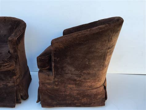 Pair Of Petit Swivel Rocking Barrel Chairs For Sale At 1stdibs Barrel Chairs Swivel Rocker