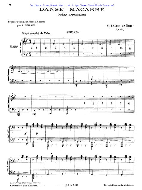macabre music free sheet music for danse macabre op 40 saint sa 235 ns