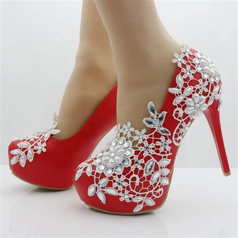 Heels Shoes by Fashion Pumps White Lace Shoes Thin Heels Platform