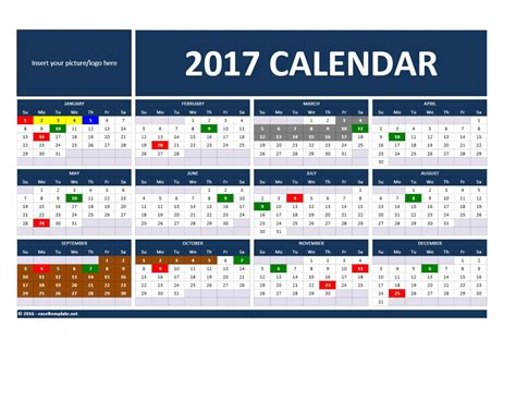 2017 and 2018 calendars excel templates