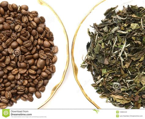 Coffee Bean Tea Leaf coffee beans and tea leaves stock photos image 12860443