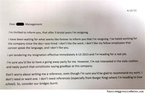 Cover Letter Exles Burger King Burger King Worker Quits With Bridge Burning Resignation Letter