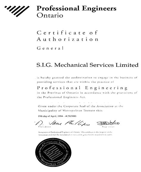 design engineer ontario certificate of authorization from the association of