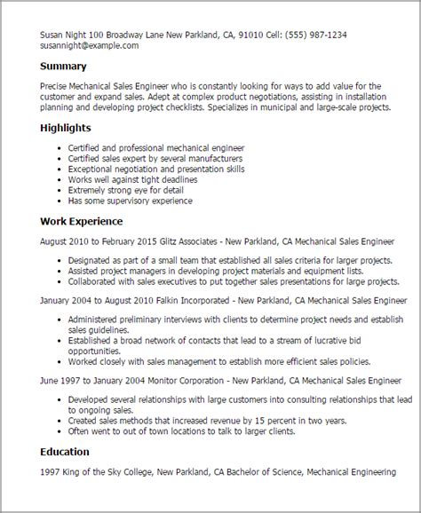 engineering resume sles for experienced professional mechanical sales engineer templates to