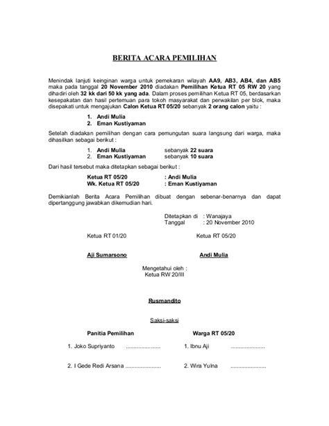 format berita acara rapat anggota koperasi berita acara pemilihan