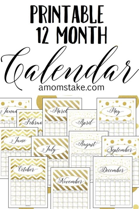 Free Printable 12 Month Calendar A Mom S Take Free 12 Month Calendar Template
