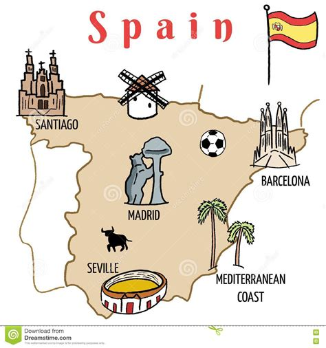 doodle barcelona spain map stock vector image of flag tourism